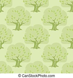 Vector seamless pattern. Tree oak on light green background.