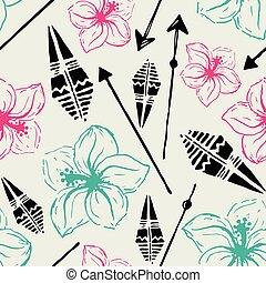 Vector seamless pattern. Universal colorful summer hawaiian flow