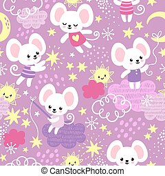Vector seamless pattern with a cute little mouse who sits on the clouds.