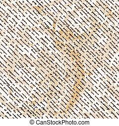 Vector seamless pattern with a hand-written Latin text on the old dirty paper. Lorem Ipsum