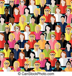 vector seamless pattern with a large group of girls and ...