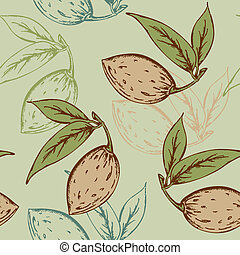 vector seamless pattern with almond on a green background