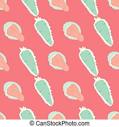 Vector seamless pattern with almond tasty sweets. Pink background