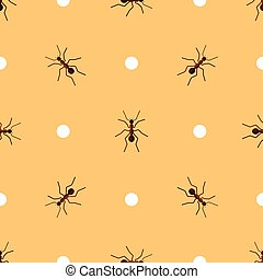 Vector seamless pattern with ants and circles