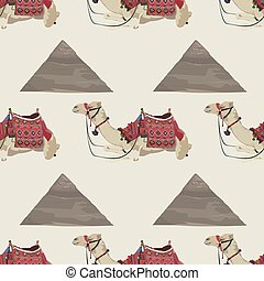 Vector seamless pattern with arabian one-humped camel and Egyptian pyramid