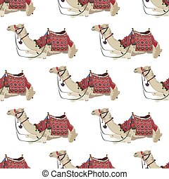 Vector seamless pattern with arabian one-humped camel