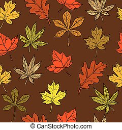 Vector Seamless pattern with autumn leaves. Fall background