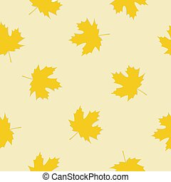 Vector seamless pattern with autumn leaves on a yellow background.