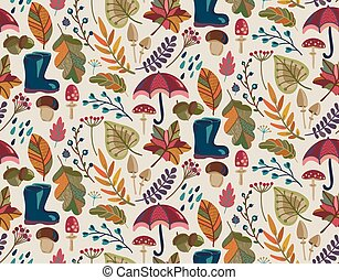 Vector seamless pattern with autumn nature elements