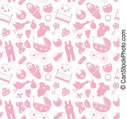 Vector seamless pattern with baby elements. Newborn clothes and accessories repeating background in doodle style for textile, wrapping paper, scrapbooking.
