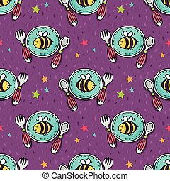 Vector seamless pattern with baby tableware - plate, fork and spoon