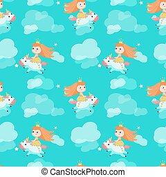 Vector seamless pattern with beautiful princess and unicorn