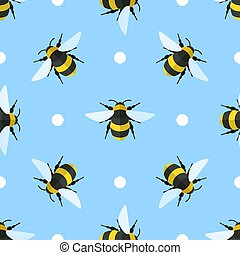Vector seamless pattern with bees and circles
