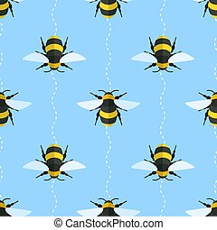 Vector seamless pattern with bees and wavy lines