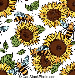 Vector seamless pattern with bees, leaves and sunflowers. Black and yellow texture