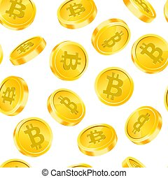 Vector seamless pattern with Bitcoin gold coins in different angles isolated on white background. Digital currency money concept. Symbol of crypto currency, blockchain technology