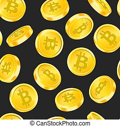 Vector seamless pattern with Bitcoin gold coins in different angles on black background. Digital money concept. Symbol of crypto, blockchain technology