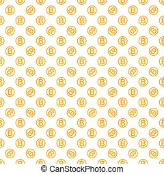 Vector seamless pattern with bitcoins. Cryptocurrency...