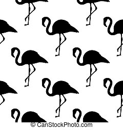Vector seamless pattern with black and white flamingos