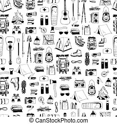 Vector seamless pattern with black elements isolated on white. Trendy endless texture. Print for tourism, camping. Backpack, boots, tent, compass, map, flashlight, binoculars, camera, bottle of water