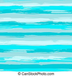 Vector seamless pattern with blue brush strokes. Striped sea...