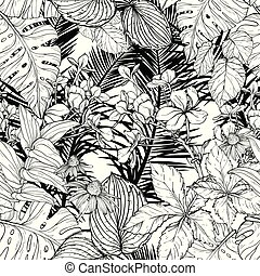 Seamless pattern with branches and leaves. Black and white