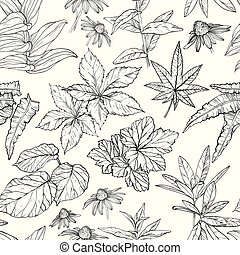 Seamless pattern with branches and leaves sketch