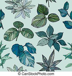 Seamless pattern with branches and leaves
