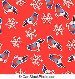 Vector seamless pattern with bullfinches on a red background with snowflakes