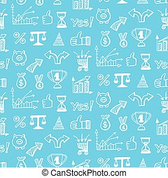 Vector seamless pattern with business doodle icons