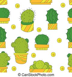 Vector Seamless Pattern with Cactus