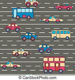 Vector seamless pattern with cars and buses.