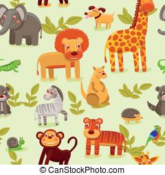 vector seamless pattern with cartoon animals - wallpaper ...
