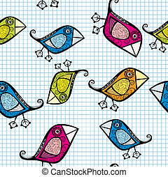 Vector seamless pattern with cartoon birds.