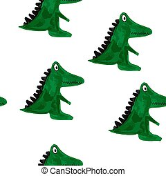 Vector Seamless Pattern with Cartoon Crocodiles.