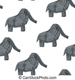 Vector Seamless Pattern with Cartoon Elephants