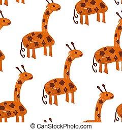 Vector Seamless Pattern with Cartoon Giraffes.