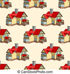 Vector seamless pattern with cartoon houses