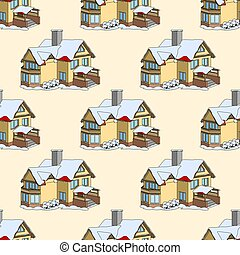 Vector seamless pattern with cartoon houses in winter time