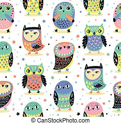 Vector seamless pattern with cartoon owls. Baby fashion background