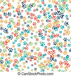 Vector seamless pattern with cat or dog footprints