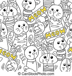 Vector seamless pattern with cats.