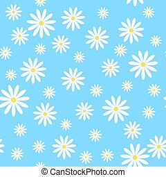 Vector seamless pattern with chamomiles