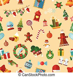 Vector seamless pattern with Christmas accessories