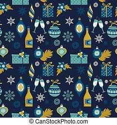 Vector seamless pattern with Christmas symbols.