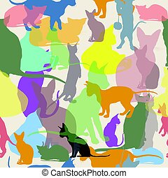 Vector seamless pattern with colorful cats - Vector seamless...