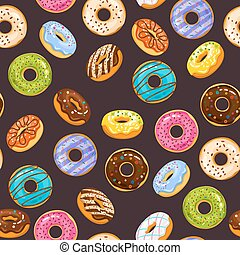 Vector seamless pattern with colorful glaze and sprinkles donuts chocolate donut