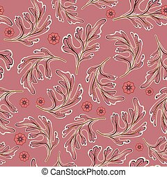 vector seamless pattern with colorful leaves