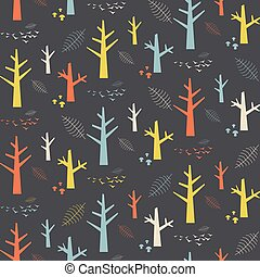 Vector seamless pattern with colorful nature elements on a grey background