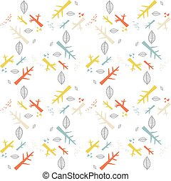 Vector seamless pattern with colorful nature elements on a white background